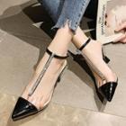 Rhinestone Pointed Ankle-strap Kitten-heel Sandals