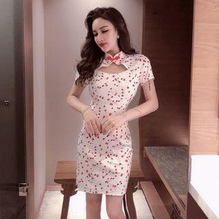 Short-sleeve Cherry Print Qipao Dress