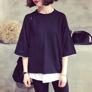Mock Two Piece Color Panel 3/4 Sleeve T-shirt