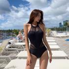 Mesh Paneled Halter Swimsuit
