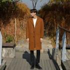 Notched-lapel Wool Blend Tailored Coat