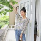 Capelet Ruffled Floral Chiffon Blouse