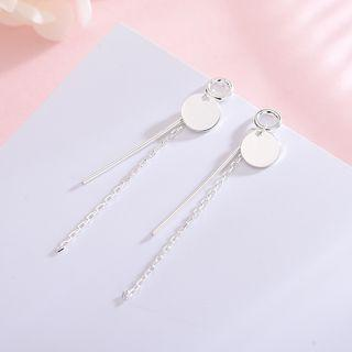 925 Sterling Silver Disc & Bar Fringed Earring 1 Pair - As Shown In Figure - One Size