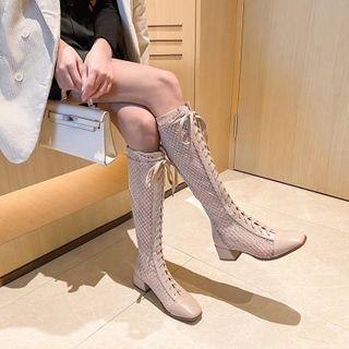 Lace Up Perforated Block-heel Tall Boots