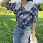 Short-sleeve Plaid Wide-collar Blouse