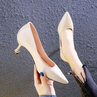 Pointy Studded High Heel Pumps
