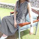 Sleeveless Check Linen Blend Maxi Flare Dress