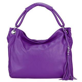 Genuine-leather Tasseled Shoulder Bag Purple - One Size