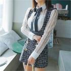 Metallic-button Tweed Suspender Dress