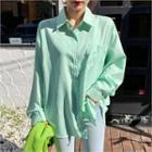 Pocket-detail Striped Shirt Green - One Size