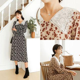 Lace-collar Long Floral Dress