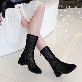 Lace Block Heel Short Boots