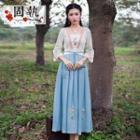 3/4-sleeve Paneled Embroidered Dress