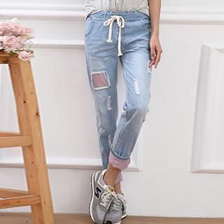 Drawstring Distressed Denim Pants
