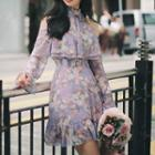 Halter Floral Print A-line Dress