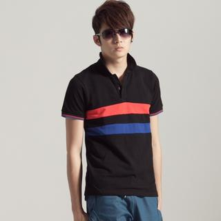 Short-sleeve Color-block Polo Shirt