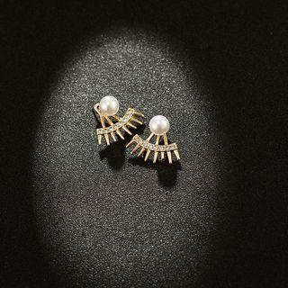 Faux Pearl Rhinestone Swing Earring 1 Pair - Gold - One Size