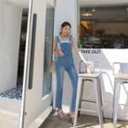 Distressed Washed Boot-cut Overall Jeans