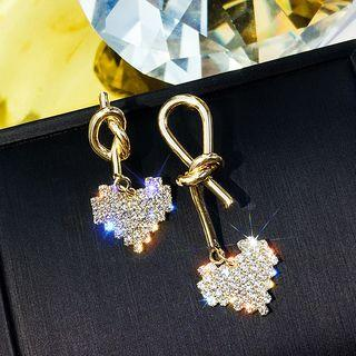 Non-matching Rhinestone Heart Alloy Knot Dangle Earring 1 Pair - As Shown In Figure - One Size