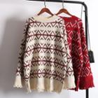 Ripped Patterned Long Sweater