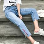 Embroidered Straight-cut Cropped Jeans