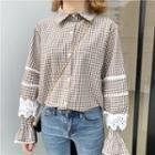 Gingham Lace-trim Shirt