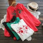 Long-sleeve Embroidery Tie-neck Top