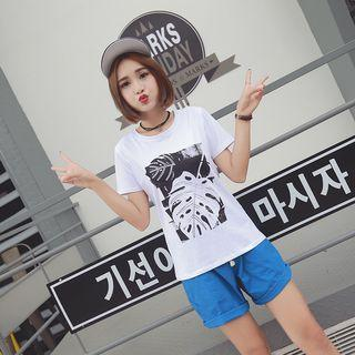 Leaf Print Short-sleeve T-shirt