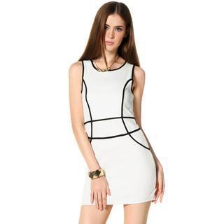 Contrast Trim Sleeveless Dress