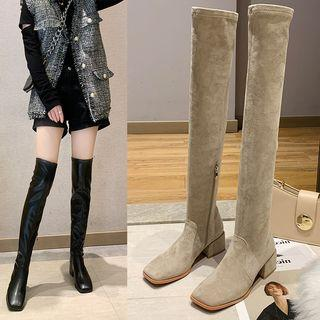 Square-toe Block-heel Over-the-knee Boots