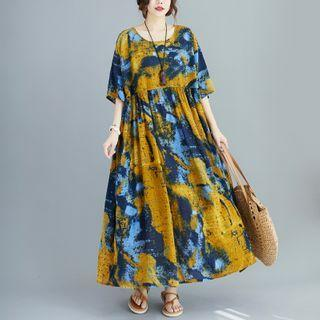 Elbow-sleeve Printed Maxi A-line Dress Multicolor - One Size