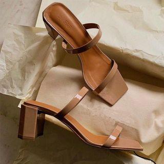 Square-toe Chunky Heel Slide Sandals