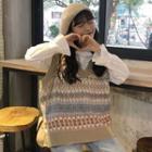 Pattern Knit Vest Vest - As Shown In Figure - One Size
