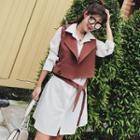 Set: Long-sleeve Plain Shirt Dress + Vest