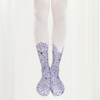 Floral Print Tights White - One Size
