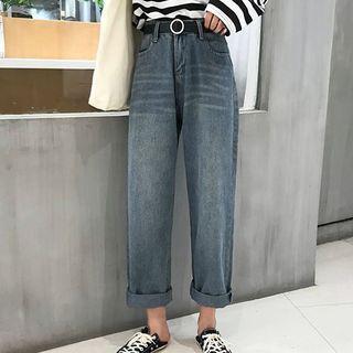 Washed Wide Leg Jeans / Round Buckled Belt
