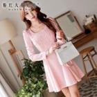Long-sleeve Applique Dress