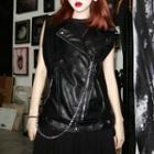 Faux Leather Vest Black - One Size