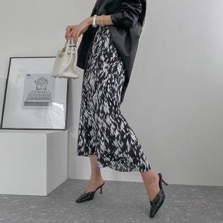 Band-waist Maxi Leopard Skirt