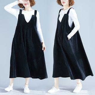 Midi Corduroy Jumper Dress Black - One Size