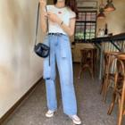 High-waist Washed Distressed Jeans