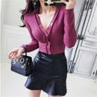 Inset Shorts Velvet Mini Flare Skirt