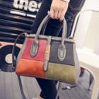 Color Block Tote With Shoulder Strap