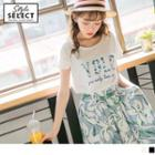 Short Sleeve Floral Letter Print T-shirt