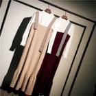 Set: Plain Sweater + Knit Midi Jumper Dress