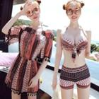 Set: Printed Bikini Top + Swim Shorts + Playsuit