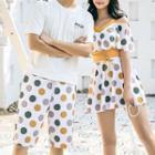 Couple Matching Short Sleeve V-neck Dotted Print Swimdress / Swim Shorts