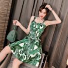 Set: Leaf Print Cropped Camisole Top + High-waist A-line Skirt