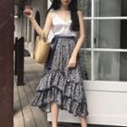 Floral Print Tiered Midi Skirt