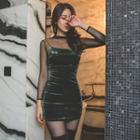 Spaghetti-strap Velvet Bodycon Dress